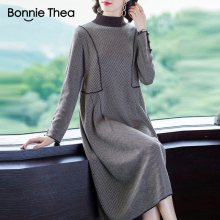 Bonnie Thea women Winter loose knitting dress women's Autumn