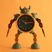 Deformation robot alarm clock creative student small cute children cartoon metal table
