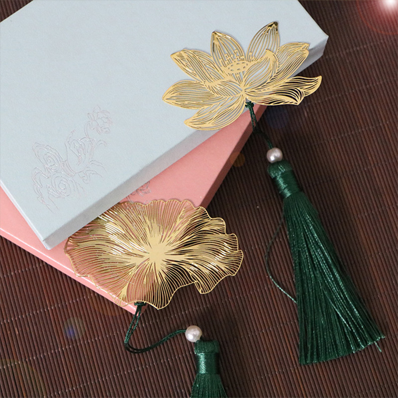 Metal Leaf Bookmark For Books Retro Chinese Style Lotus Book Marks Vein Bookmarks School Office Supply Creative Stationery Gift