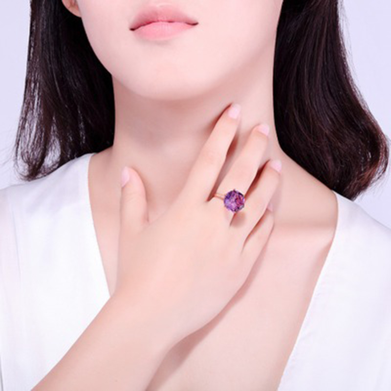 FIMAODZ Fashion Rose Gold Ring With Round Amethyst Gemstone Open Adjust Size Rings for Women Wedding Engagement Jewelry