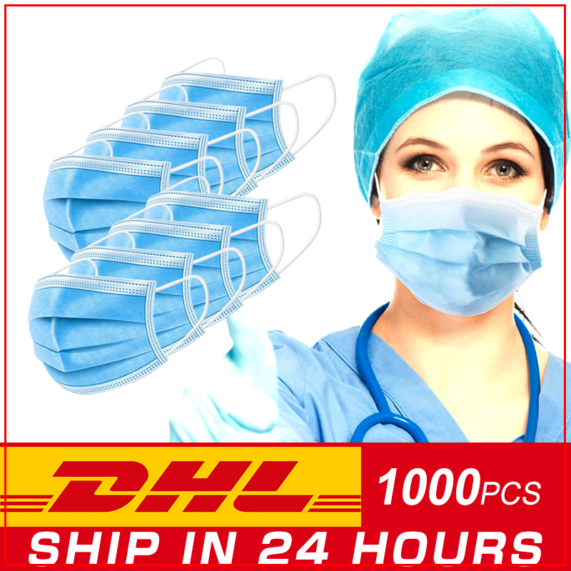 Free Shipping DHL 500 Pcs Anti COVID-9 Virus Mask Medical Surgical 3-Ply Nonwoven Disposable Elastic Mouth Breathable Face Masks