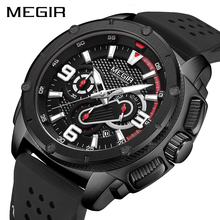 MEGIR Black Mens Watches Top Brand Luxury Sport Wrist Watch Man Clocks Chronograph Quartz Military Men Relogio Masculino
