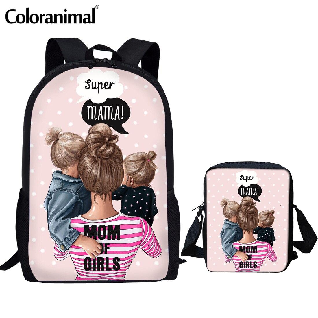 INSTANTARTS 3pcs Set School Backpack Cartoon Girls  Super Mom Cute Princess Print Children Primary School Bag Teenager Girl Bags