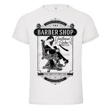 T Shirt Neue Marke barber shop gentlemens club haarschnitte cut throat rasur bart t-shirt t Sommer Casual Kleidung(China)