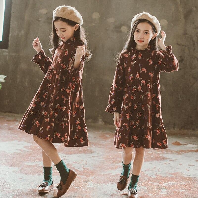 Комплект с платьем для девочек, свитер и платье для малышей 2019 г. Новое Осеннее детское платье с цветочным рисунком комплект из 2 предметов, Детский костюм детская одежда хлопок #3589