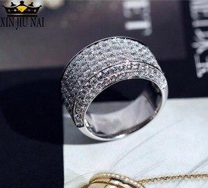 Мужское кольцо из стерлингового серебра, 18 К, белое золото, имитация 3 карата, полностью покрытое бриллиантами, роскошное атмосферное кольцо