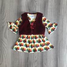 baby girl thanksgiving clothes girls 2 pcs outfits turkey chick dress with wool fabric coat girls winter clothes(China)
