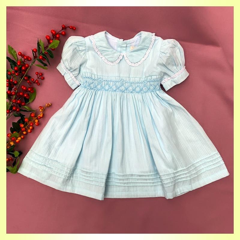 2020 Meninas novas Do Bebê Verão Princesa Elegante Vestidos Smocked 1 2 3 4 5 Anos Crianças Meninas Sólidos Feitos À Mão Smocking vestidos de Algodão