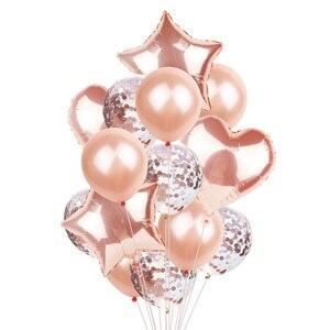 Image 3 - 14Pcs Multi Confetti Ballon Happy Birthday Ballonnen Rose Gold Helium Ballons Jongen Meisje Baby Shower Feestartikelen