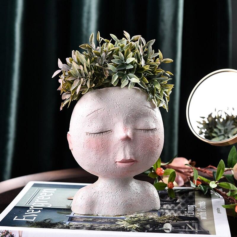 New Creative Resin Flower Vase Portrait Head Face Planters Handmade Artwork Sculpture Ornament Home Gardening Decorations