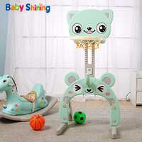 Juguete brillante para bebé aro de baloncesto juguetes deportivos para bebés soportes de baloncesto altura ajustable para niños aro de objetivo para bebé ajuste