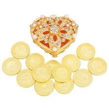 Bride Gift Gold Wedding Arras Coin Heart Shape Box with Pearl Rhinestone Las Arras Wedding Coins 13 Unity Coins Arrhae Coins Set abwe best sale stealing steal coins mouse gift coins funny box useless box