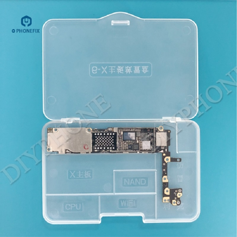 PHONEFIX Super-hard Plastic Compartment Transparent Storage Box For IPhone 6 6S 7 8 X Motherboards Protectction Repair Tool Box
