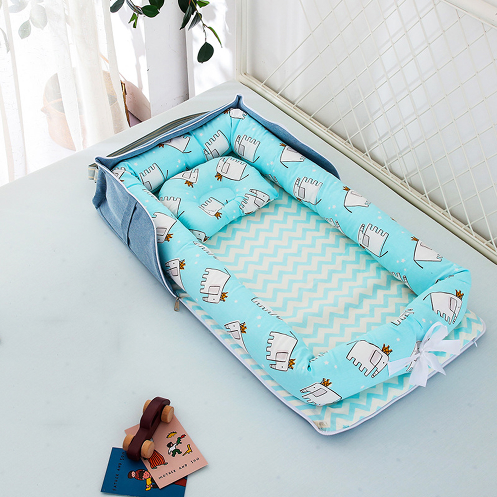 Portable Baby Bed For Boys Girls Travel Bed Foldable Infant Cotton Crib Baby Play Mat Bassinet Dismountable Baby Nest Bed