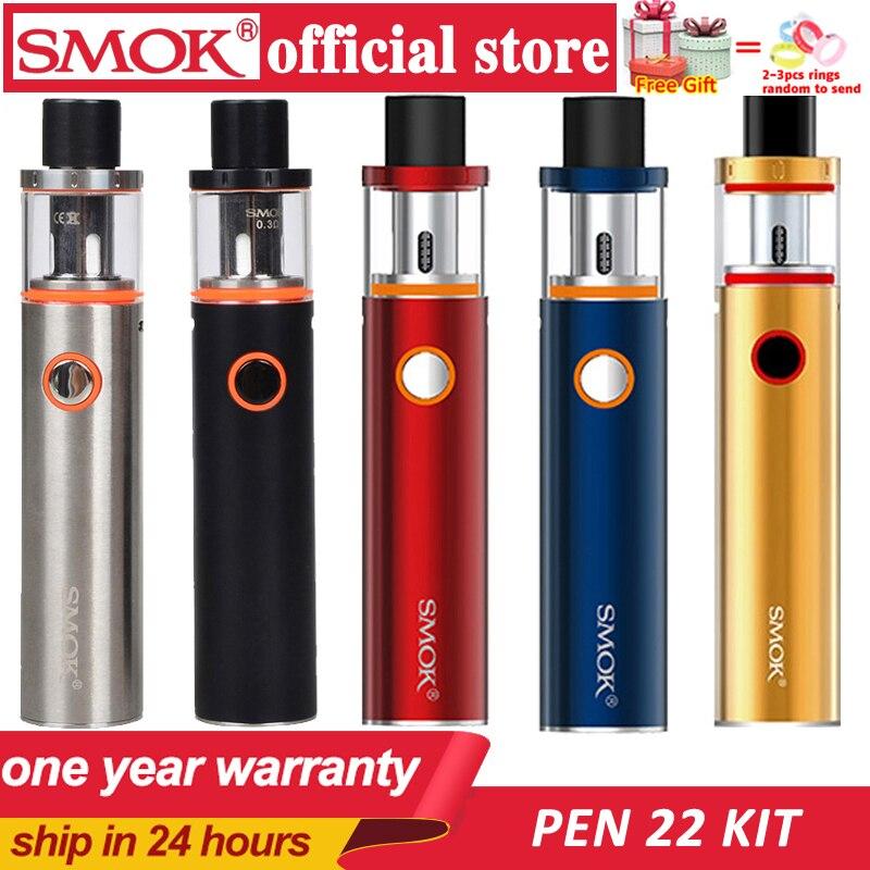 Smok Vape stylo 22 Kit intégré 1650mah batterie avec Vape stylo 22 réservoir 0.3ohm double noyau avec indicateur LED e cigarette électronique