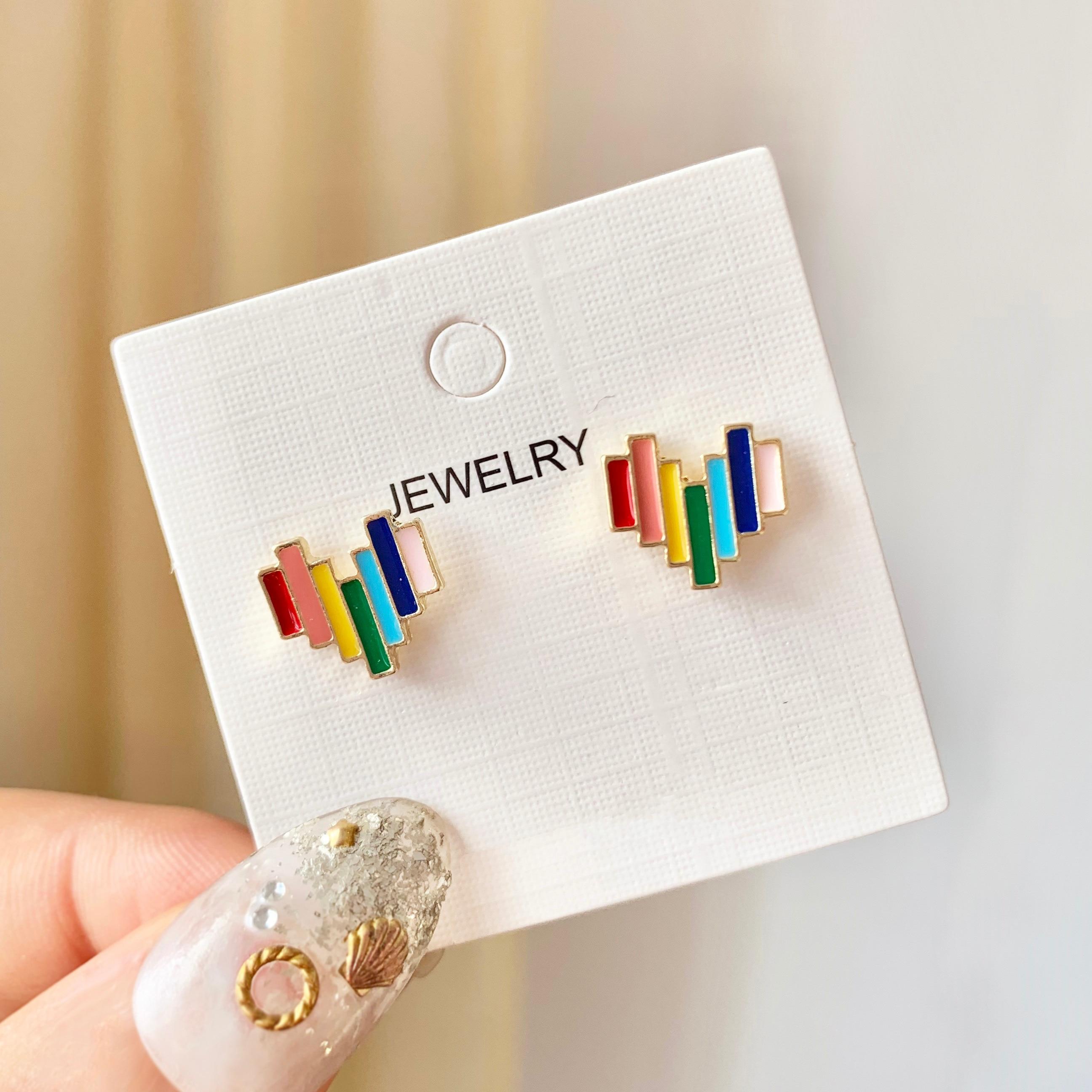 Love Stud Earrings Small Earrings Rainbow Red South Korea's Temperament Lovely Personality 2020 New Women Water Drop Push-back