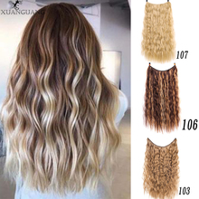 XUANGUANG 24 Inch Invisible Fish Line Straight Hair Wavy Long Heat Resistant Synthetic  Hair extension fashion long straight 6h27h613 heat resistant synthetic hair extension for women