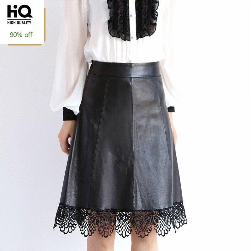 Autumn New Fashion Sheepskin Genuine Leather Womens Lace Skirts Elegant High Waist Wrap Office Lady Saia Streetwear A-Line Jupe