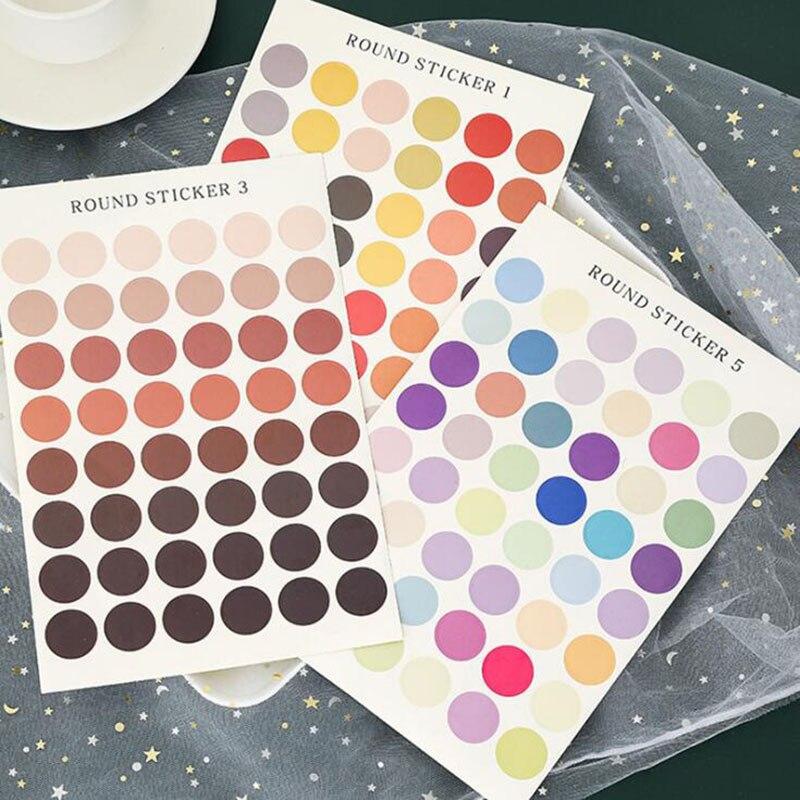 48 Pieces / Cute Color Solid Color Dot Seal Sticker DIY Album Scrapbook School Office Stationery Decoration Supplies Sticker