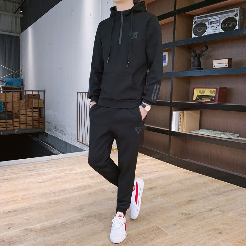 Hoodie Suit Men's Spring And Autumn New Style Teenager Handsome Hooded Students Sports Casual Korean-style Trend Of Fashion Coat