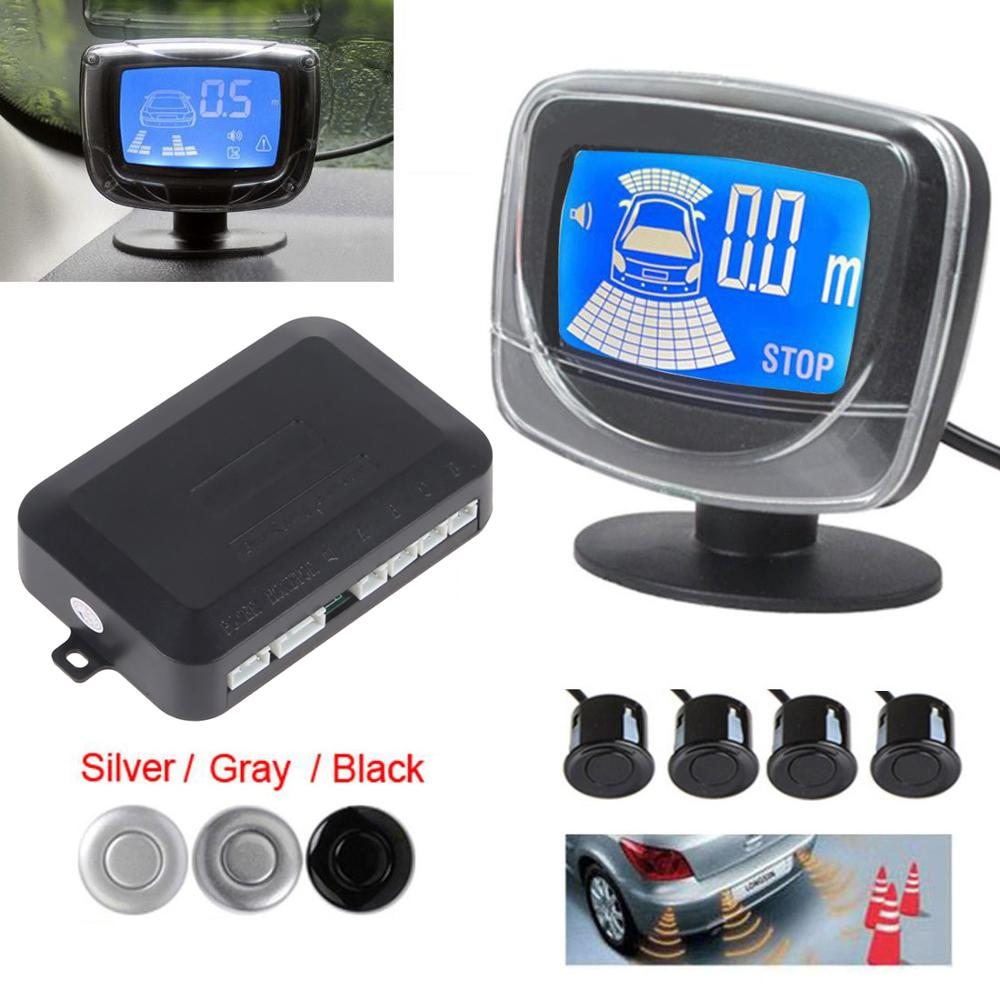 4 Parking Sensors LCD LED Display Car Reverse Radar System Alarm Kit Black