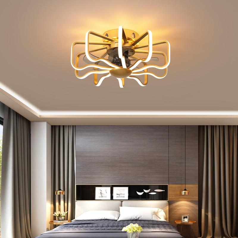 Nordic Fan Lamp Home Living Room Ceiling Fan Whit Light Restaurant Bedroom Fan Lamp High Brightness Remote Control LED Fan Light