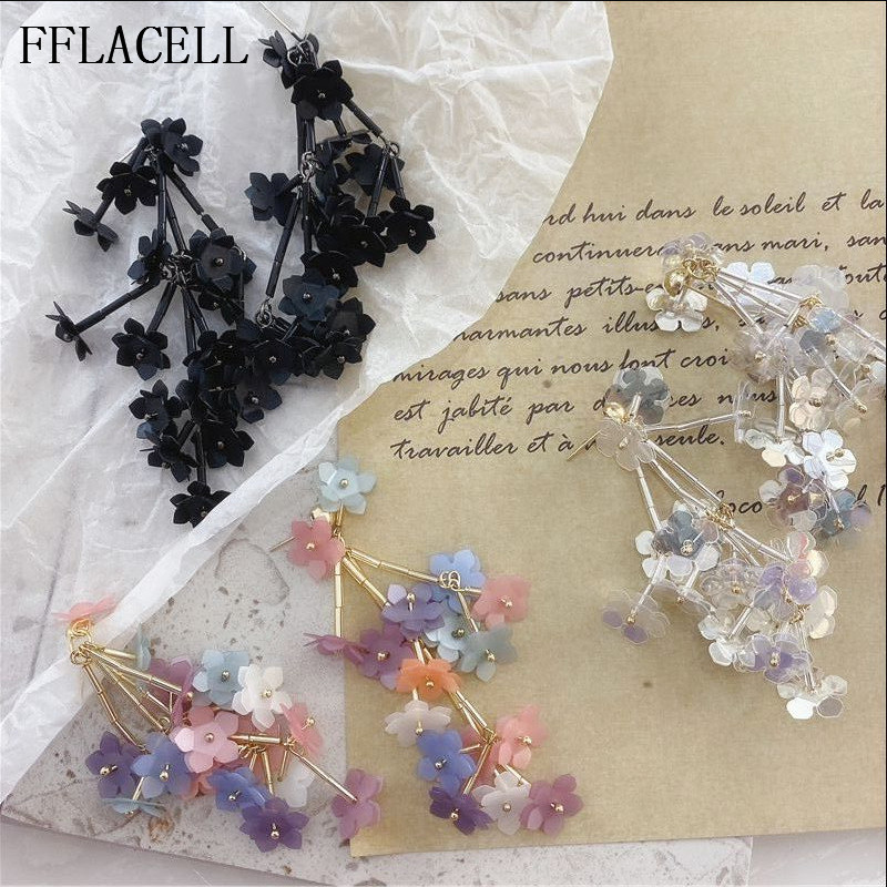 FFLACELL Korea Cute Irregular Beaded Transparent Colorful Sequin Pearl Flower Long Drop Earrings For Women Jewelry(China)