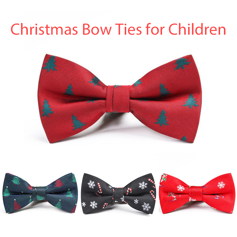 New Christmas Bow Ties For Children Shirt Snow Pattern Quality Bowties For Boys Festival Neck Ties