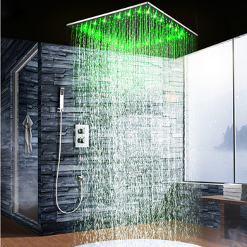 Bathroom Rain Waterfall LED Shower Faucets Set Wall Mounted Thermostatic Top Spray Shower System Bathtub Shower Mixer Faucet Tap thermostatic triple shower panel handles bathroom faucet wall mounted shower faucets with tub filler mixer tap