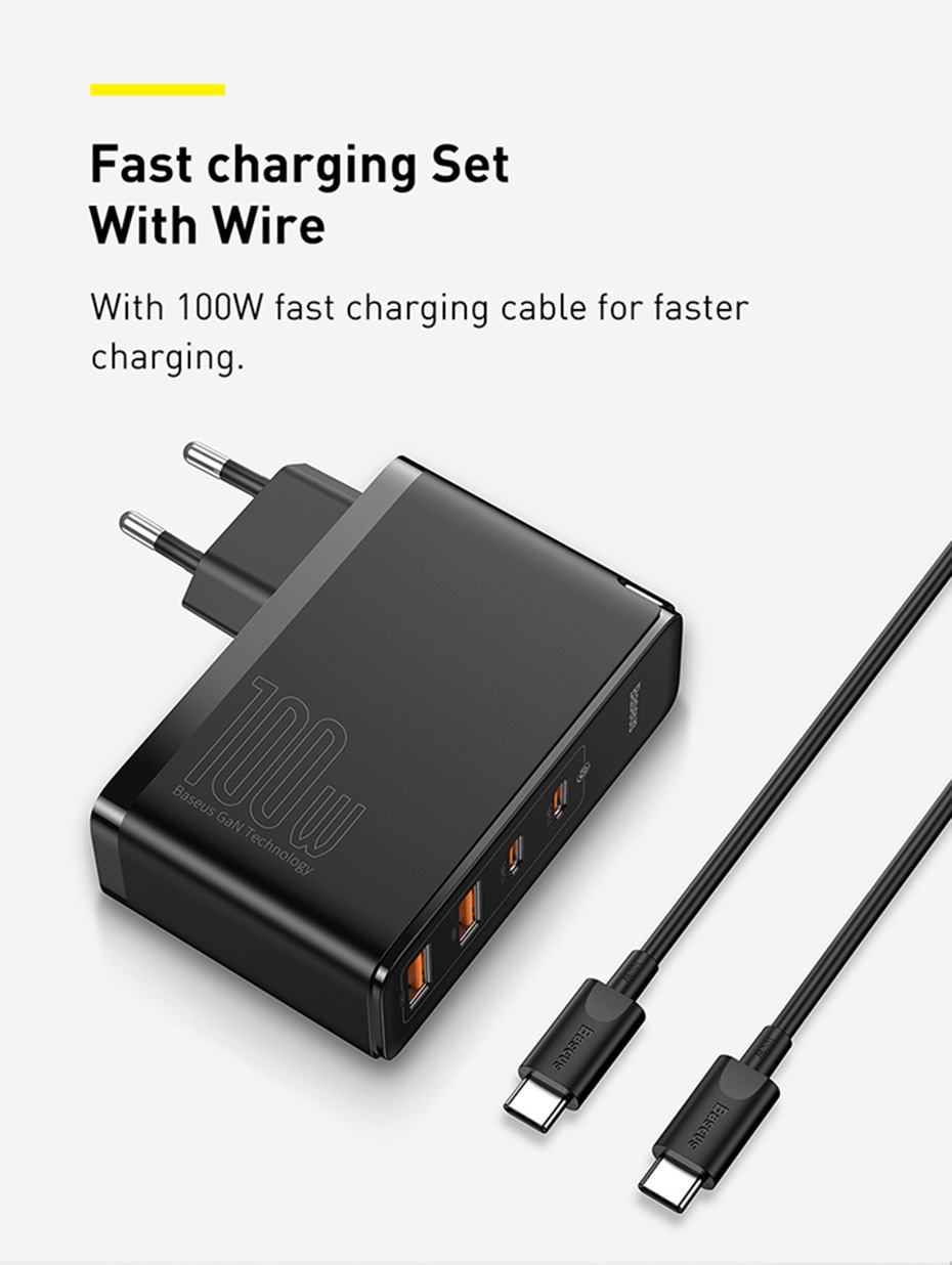 Baseus GaN Charger 100W USB Type C PD Fast Charger with Quick Charge 4.0 3.0 USB Phone Charger For MacBook Laptop Smartphone