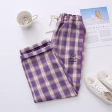 Plaid-Pants Harajuku Purple Korean Elastic Waist Wide-Leg Loose Retro Soft Sister Dog