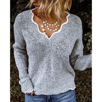 Women V neck Knit Sweater Long Sleeve Pullover Autumn Winter Warm Sweater KNG88