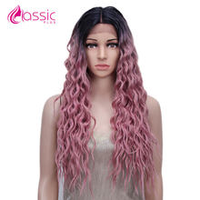 Pink Synthetic Lace Front Wig For Women Cosplay Wig 28inch Long Wavy Curly Pastel Ombre Heat Resistant Fashion Wig Classic Plus(China)