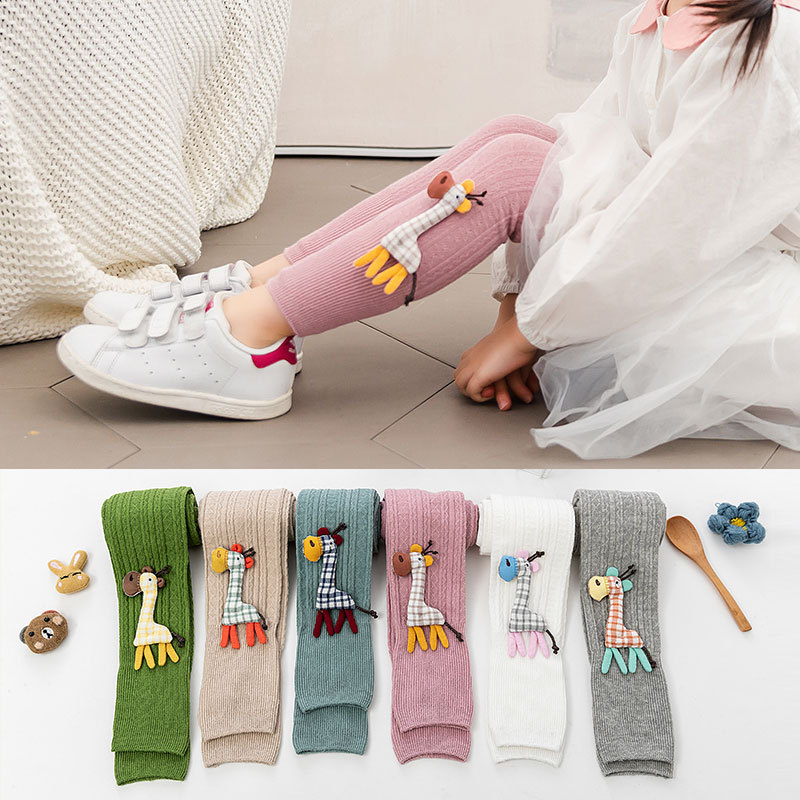 Girl Trousers Leggings Knitted-Pants Autum Soft Children's Cotton Cute Deer for 1-To-8-Years-Spring