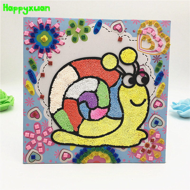 Happyxuan 2-in-1 DIY Snowflake Clay Painting Mosaic Art Stickers Educational Toy For Girl Kids Crafts Materials Creativity