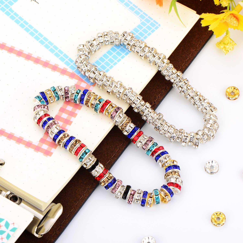 50 pièces strass Rondelle perles d'espacement pour la fabrication de bijoux 4/6/8/10mm Multi couleur perles de cristal bracelet à bricoler soi-même collier accessoires