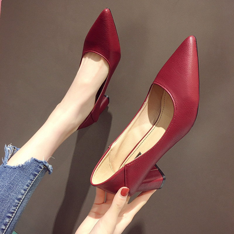 EOEODOIT 2020 Women Leather Pumps Shoes Office Lady High Heel Pointy Toe Slip On Work Shoes Spring Summer Classic Heel 6 Cm