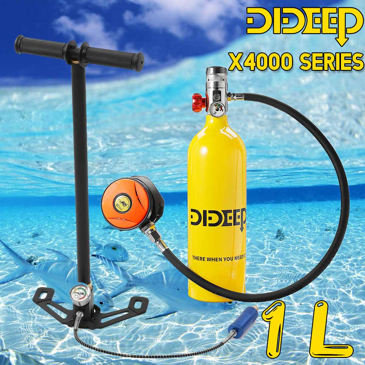 DIDEEP 1L Scuba Diving Cylinder Oxygen Tank Set Dive Respirator Air Pump For Snorkeling Underwater Sport Breath Diving Equipment