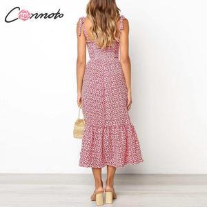 Image 4 - Conmoto 2019 Print Ruffles Mid Summer Dress Women Casual Twist Party Dress Strapless Print Beach Princess Long Dress Vestidos