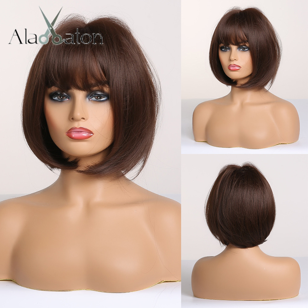 ALAN EATON Short Straight Dark Brown Synthetic Wigs With Bangs For Women Bob Wig Heat Resistant Bobo Hairstyle Cosplay Wigs