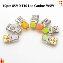 t10 w5w silicone case cob led car wedge interior light wy5w 194 501 auto parking trunk bulbs turn side lamps canbus error free 10pcs Car Light Bulb 8SMD T10 Led Canbus W5W 194 168 Error Free 12V Auto Wedge Light Bulbs Turn Signal Side License Plate Lamp