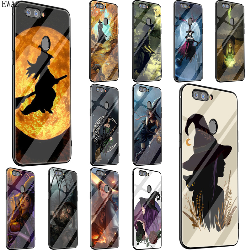 EWAU Halloween Witch Tempered Glass <font><b>phone</b></font> case for <font><b>OPPO</b></font> A37 A5 A39 A7 A77 A73 F7 F9 <font><b>F11</b></font> <font><b>pro</b></font> image