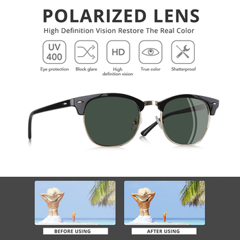 Polarized Sunglasses for Men Vintage Half Metal Frame Wayfarer Sunglasses For Women Male UV400 2