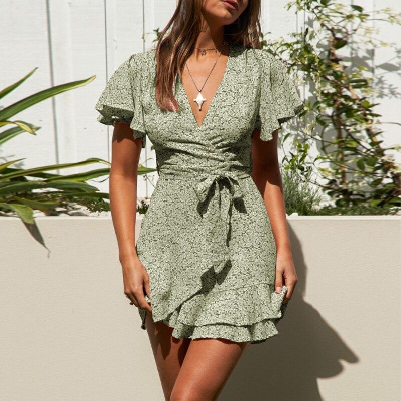 Bohemian Women Short Sleeve Mini Dress 2021 Celmia Plus Size Summer Sundress Floral Printed Casual Sexy V-neck Wrap Ruffles Robe