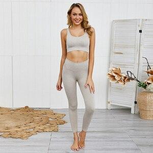 Image 2 - Seamless Yoga Set Women Sportwear Gym Leggings Sports bra set Workout clothes for women Fitness suit Femme Sports Suits