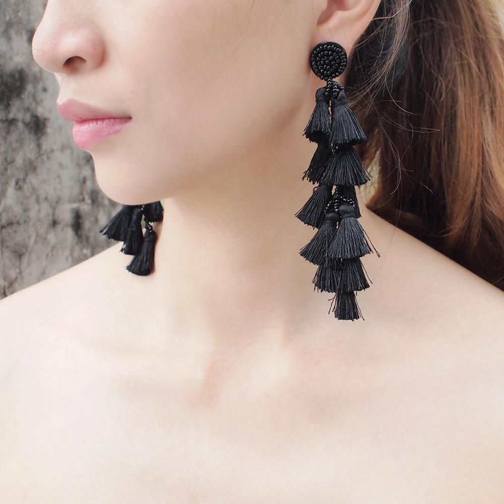 MANILAI Resin Beads Tassel Earrings For Women Boho Handmade Long Fringe Dangle Earring Fashion Jewelry Wholesale