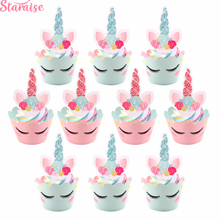 Staraise 24pcs Pink Unicorn Cake Toppers Rainbow Birthday Wrappers Happy Decor Party Supplies