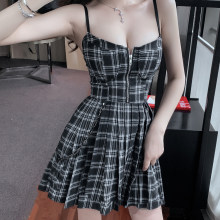 Preppy Style Gothic Girls Sexy Vintage Mini Dress Red Balck Pleated Plaid Women Mini Short Dresses Punk Hip Hop Streetwear