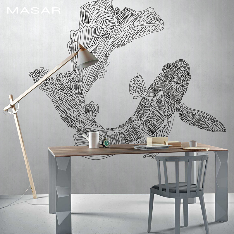 MASAR Abstract Red Fish Mural Entrance Corridor Background Wall Paper Waterproof Mould Resistant Wallpaper Diving