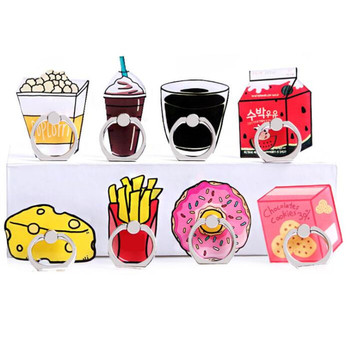Cartoon Foods Cheese Finger Ring Mobile Phone Stand Holder Car Mobile Phone Suporte Celular For iPhone 11 All SmartPhone image